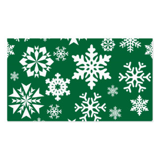 Festive Green Snowflakes Christmas Holiday Pattern Business Cards