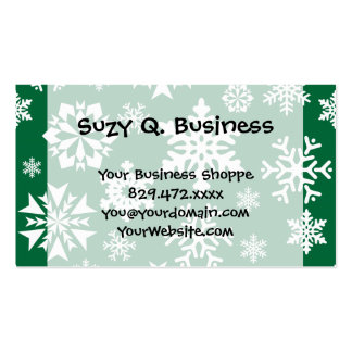 Festive Green Snowflakes Christmas Holiday Pattern Business Card