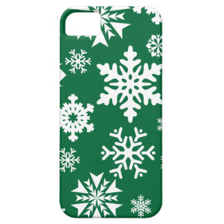 Festive Green Snowflakes Christmas Holiday Pattern iPhone 5 Covers