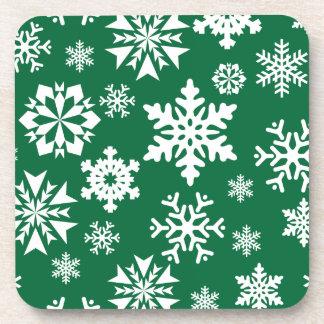 Festive Green Snowflakes Christmas Holiday Pattern Coaster