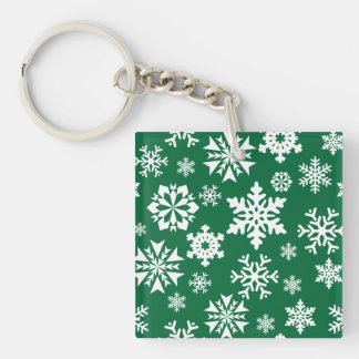 Festive Green Snowflakes Christmas Holiday Pattern Keychain