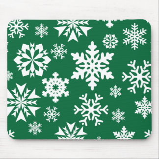 Festive Green Snowflakes Christmas Holiday Pattern Mouse Pad