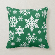 Festive Green Snowflakes Christmas Holiday Pattern Pillow