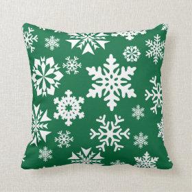 Festive Green Snowflakes Christmas Holiday Pattern Throw Pillows