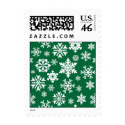 Festive Green Snowflakes Christmas Holiday Pattern Stamps
