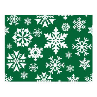 Festive Green Snowflakes Christmas Holiday Pattern Postcard