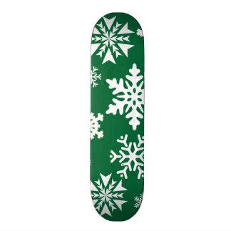 Festive Green Snowflakes Christmas Holiday Pattern Skateboard Decks