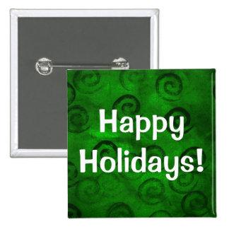 Festive Green Spirals Pinback Button