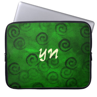 Festive Green Spirals Computer Sleeve