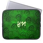 Festive Green Spirals Laptop Sleeves
