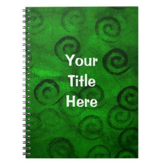 Festive Green Spirals Notebook