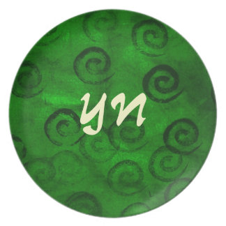 Festive Green Spirals Party Plate
