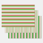 [ Thumbnail: Festive Green, White, Red Christmas-Style Lines Wrapping Paper Sheets ]