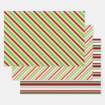 [ Thumbnail: Festive Green, White, Red Christmas-Style Patterns Wrapping Paper Sheets ]