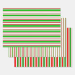 [ Thumbnail: Festive Green, White, Red Christmas Themed Lines Wrapping Paper Sheets ]