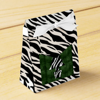 Festive Green with Black and White Zebra Print Favor Box