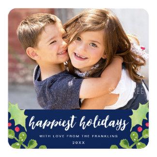 Festive Greenery Photo Holiday Card