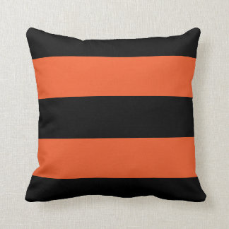 Festive Halloween Black and Orange Bold Stripe Throw Pillow