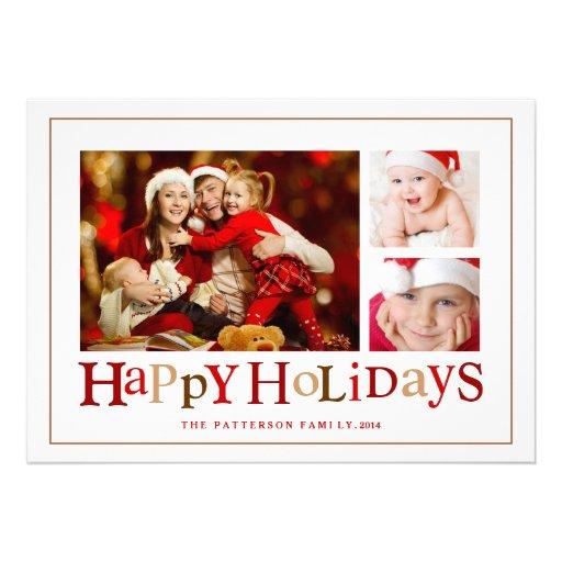 Festive Happy Holidays Three Picture Photo Card Custom Invitation