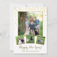 Festive Happy New Year Gold Confetti Photo Collage Holiday Card