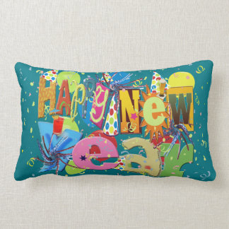Festive Happy New Year Lumbar Pillow