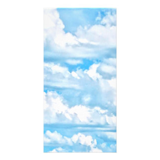 Festive Happy Sunny Clouds Background Card