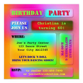 """Festive Hippie Birthday Party Invitation 5.25"""" Square Invitation Card"""