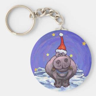 Festive Hippo Holiday Keychain