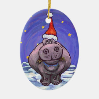 Festive Hippo Holiday Double-Sided Oval Ceramic Christmas Ornament