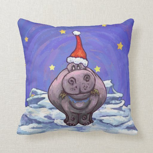 Festive Hippo Holiday Pillows