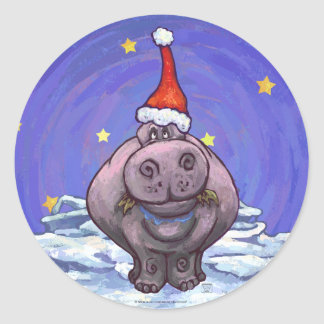 Festive Hippo Holiday Sticker