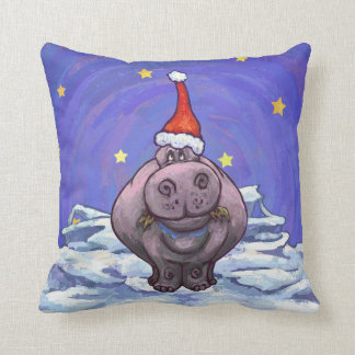 Festive Hippo Holiday Throw Pillow
