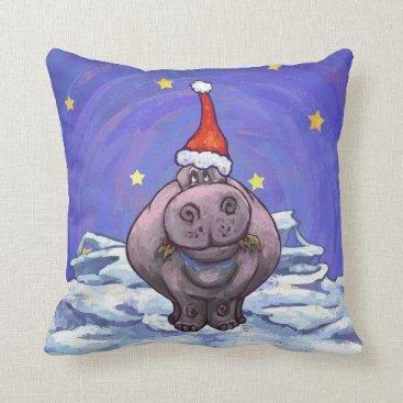Christmas Themed Festive Hippo Holiday Throw Pillow