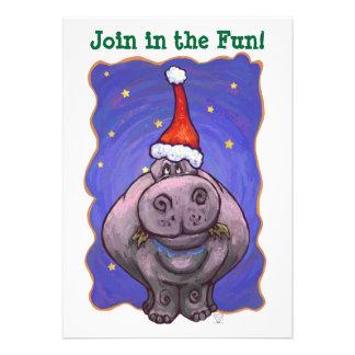 Festive Hippopotamus Christmas Party Invite