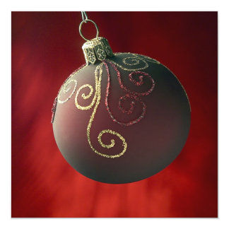 "Festive Holiday Christmas Decoration Invitations 5.25"" Square Invitation Card"