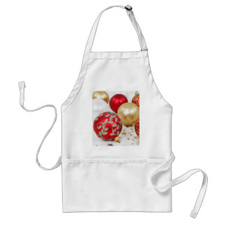 Festive Holiday Christmas Ornaments Background Adult Apron