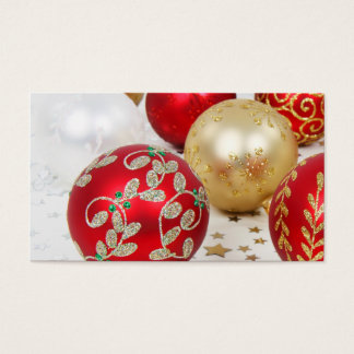 Festive Holiday Christmas Ornaments Background Business Card