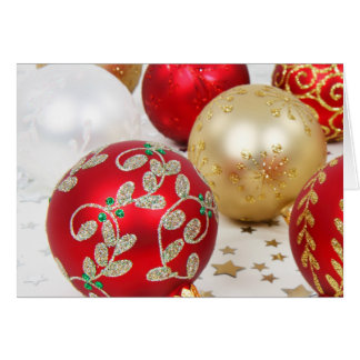 Festive Holiday Christmas Ornaments Background Card