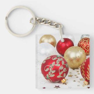 Festive Holiday Christmas Ornaments Background Keychain