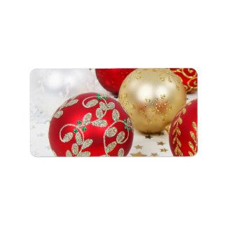 Festive Holiday Christmas Ornaments Background Custom Address Labels