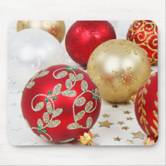 Festive Holiday Christmas Ornaments Background Mouse Pad