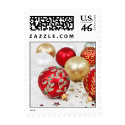 Festive Holiday Christmas Ornaments Background Postage Stamp
