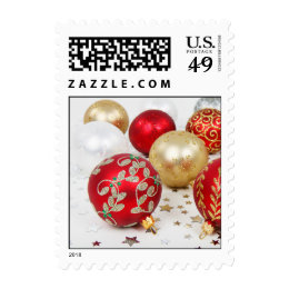 Festive Holiday Christmas Ornaments Background Stamp