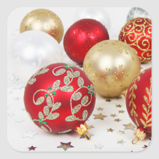 Festive Holiday Christmas Ornaments Background Square Sticker
