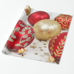Festive Holiday Christmas Ornaments Background Wrapping Paper