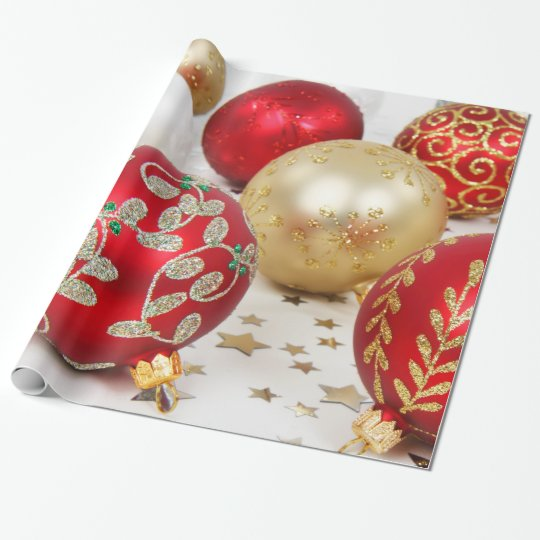 Festive Holiday Christmas Ornaments Background Wrapping