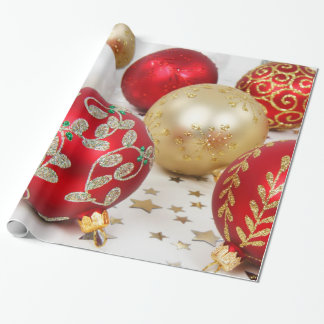 Festive Holiday Christmas Ornaments Background Gift Wrap Paper