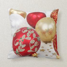 Festive Holiday Christmas Ornaments Throw Pillow