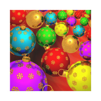 Festive Holiday Christmas Tree Ornaments Design Canvas Print