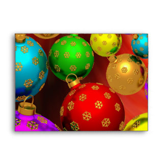 Festive Holiday Christmas Tree Ornaments Design Envelope